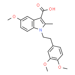 ChemSpider 2D Image | 1-[2-(3,4-Dimethoxyphenyl)ethyl]-5-methoxy-2-methyl-1H-indole-3-carboxylic acid | C21H23NO5