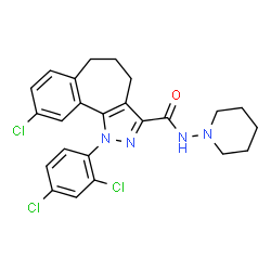 ChemSpider 2D Image | 9-Chloro-1-(2,4-dichlorophenyl)-N-(1-piperidinyl)-1,4,5,6-tetrahydrobenzo[6,7]cyclohepta[1,2-c]pyrazole-3-carboxamide | C24H23Cl3N4O