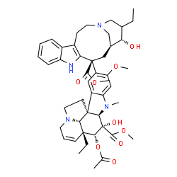 ChemSpider 2D Image | Methyl (2beta,3beta,4beta,5alpha,12beta,19alpha)-4-acetoxy-15-[(13S,15S,16S)-17-ethyl-16-hydroxy-13-(methoxycarbonyl)-1,11-diazatetracyclo[13.3.1.0~4,12~.0~5,10~]nonadeca-4(12),5,7,9-tetraen-13-yl]-3-