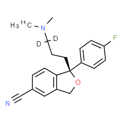 ChemSpider 2D Image | (1S)-1-(4-Fluorophenyl)-1-[3-{methyl[(~11~C)methyl]amino}(3,3-~2~H_2_)propyl]-1,3-dihydro-2-benzofuran-5-carbonitrile | C1911CH19D2FN2O