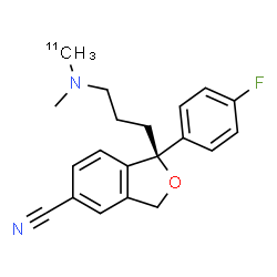 ChemSpider 2D Image | (1S)-1-(4-Fluorophenyl)-1-(3-{methyl[(~11~C)methyl]amino}propyl)-1,3-dihydro-2-benzofuran-5-carbonitrile | C1911CH21FN2O