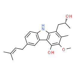 ChemSpider 2D Image | 1-[(2R)-2-Hydroxypropyl]-3-methoxy-2-methyl-6-(3-methyl-2-buten-1-yl)-9H-carbazol-4-ol | C22H27NO3