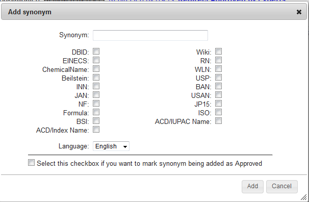 Database Curation Add Synonym