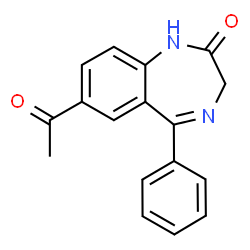 ChemSpider 2D Image | 7-Acetyl-5-phenyl-1,3-dihydro-2H-1,4-benzodiazepin-2-one | C17H14N2O2