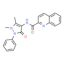 ChemSpider 2D Image | N-(1,5-Dimethyl-3-oxo-2-phenyl-2,3-dihydro-1H-pyrazol-4-yl)-2-quinolinecarboxamide | C21H18N4O2
