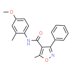 ChemSpider 2D Image | N-(4-Methoxy-2-methylphenyl)-5-methyl-3-phenyl-1,2-oxazole-4-carboxamide | C19H18N2O3