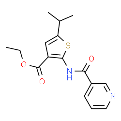 ChemSpider 2D Image | Ethyl 5-isopropyl-2-[(3-pyridinylcarbonyl)amino]-3-thiophenecarboxylate | C16H18N2O3S