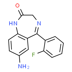 ChemSpider 2D Image | 7-Amino-5-(2-fluorophenyl)-1,3-dihydro-2H-1,4-benzodiazepin-2-one | C15H12FN3O