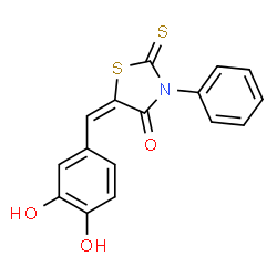 ChemSpider 2D Image | (5E)-5-(3,4-Dihydroxybenzylidene)-3-phenyl-2-thioxo-1,3-thiazolidin-4-one | C16H11NO3S2