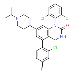 ChemSpider 2D Image | 5-(2-Chloro-4-fluorophenyl)-1-(2,6-dichlorophenyl)-7-(1-isopropyl-4-piperidinyl)-3,4-dihydro-2(1H)-quinazolinone | C28H27Cl3FN3O
