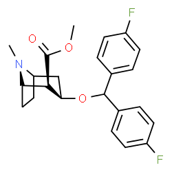 ChemSpider 2D Image | Methyl (1S,3R)-3-[bis(4-fluorophenyl)methoxy]-8-methyl-8-azabicyclo[3.2.1]octane-2-carboxylate | C23H25F2NO3