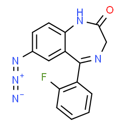 ChemSpider 2D Image | 7-Azido-5-(2-fluorophenyl)-1,3-dihydro-2H-1,4-benzodiazepin-2-one | C15H10FN5O