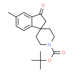 ChemSpider 2D Image | 2-Methyl-2-propanyl 5-methyl-3-oxo-2,3-dihydro-1'H-spiro[indene-1,4'-piperidine]-1'-carboxylate | C19H25NO3