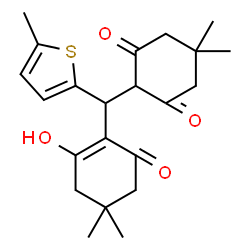 ChemSpider 2D Image | 2-[(2-Hydroxy-4,4-dimethyl-6-oxo-1-cyclohexen-1-yl)(5-methyl-2-thienyl)methyl]-5,5-dimethyl-1,3-cyclohexanedione | C22H28O4S