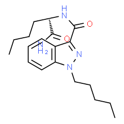 ChemSpider 2D Image | N-[(2S)-1-Amino-1-oxo-2-hexanyl]-1-pentyl-1H-indazole-3-carboxamide | C19H28N4O2