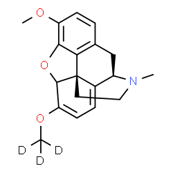 ChemSpider 2D Image | 3-Methoxy-17-methyl-6-[(~2~H_3_)methyloxy]-6,7,8,14-tetradehydro-4,5-epoxymorphinan | C19H18D3NO3