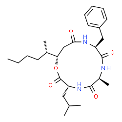 ChemSpider 2D Image | (3R,6S,9S,13S)-9-Benzyl-13-[(2S)-2-hexanyl]-3-isobutyl-6-methyl-1-oxa-4,7,10-triazacyclotridecane-2,5,8,11-tetrone | C27H41N3O5