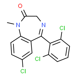 ChemSpider 2D Image | 7-Chloro-5-(2,6-dichlorophenyl)-1-methyl-1H-benzo[e][1,4]diazepin-2(3H)-one | C16H11Cl3N2O