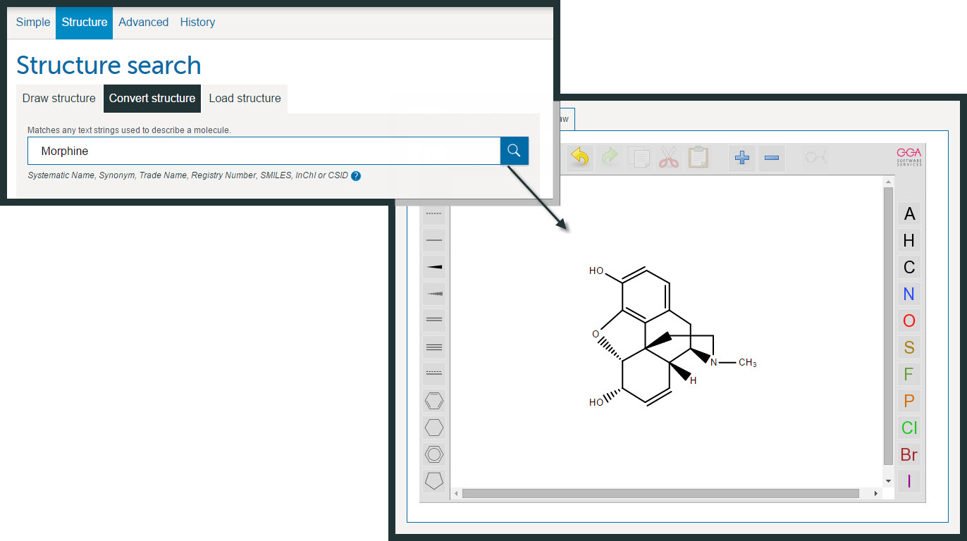 Example showing how you can use the Convert structure option to generate an editable structure from a name e.g. Morphine.
